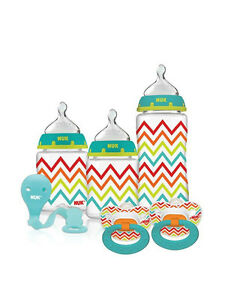 Nuk Newborn Bab Gift Set 3 Bottles 2 Pacifiers & Clip BRAND NEW