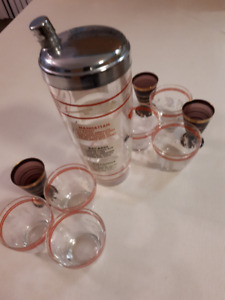 1960's Cocktail Shaker & Glasses 4 Sale !!!!!!!!!!!!!!!!!
