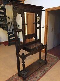 Antique dark oak hall stand