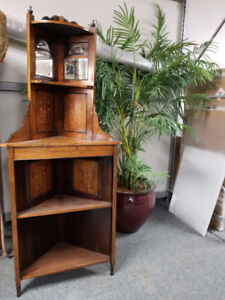Antique Corner Cabinet with mirrors in upper panels