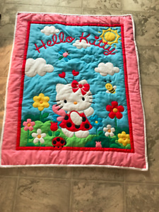 Brand New Hello Kitty Hand Quilted Baby Quilt
