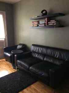 Black leather couch and chair- great condition