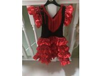 Spanish dancer dress age 4 with matching fan