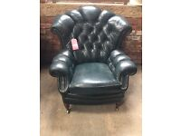 Vintage Chesterfield Leather Wing Chair - UK Delivery