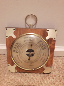 ADORNA MADE IN FRANCE BEAUTIFUL VINTAGE WOOD BAROMETER