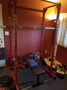Complete Olympic home gym(rack,bar,plates,mat)