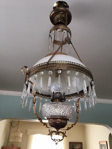 Antique Victorian hanging kerosene converted to electric lamp