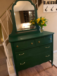 Newly Refinished Emerald Green Antique Dresser with Mirror