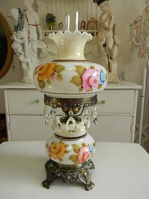 Breathtaking Vintage Hand Painted ROSES Gone with the Wind Parlor Lamp