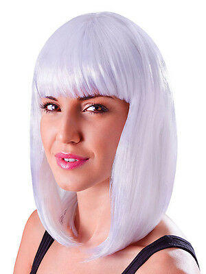 White Long Bob Wig Nikki Minaj Celebrity Style 80s Chick Fancy Dress Accessory