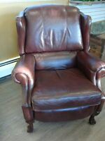 LA-Z-BOY LEATHER RECLINER @ CLAW FEET - VERY COMFORTABLE