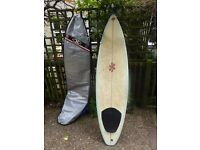 """7'1"""" thruster - Jack Knight - bag, FDS fins & leash - good condition"""