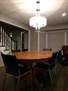 Large Solid Oak Dining Room Table