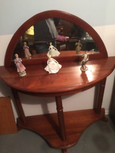 ANTIQUE SOLID WOOD HALL STAND WITH MIRROR