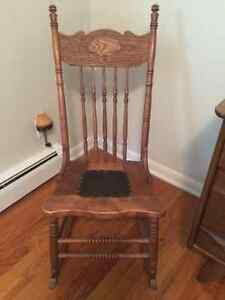 Rocking chair with leather seat