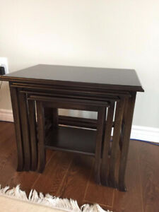 Natural Dark Brown Wood 4 Piece Side Table