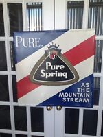 VINTAGE 1967 PURE SPRING GINGER ALE METAL SIGN( NEW PRICE)