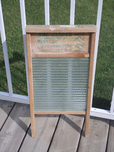 Antique Advertising Wooden Washboard with Glass Insert-Jasper