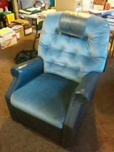 Recliner - Blue Corduroy with Polyester Upholstery