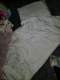 Cotbed/toddler bed mattress, duvet and pillow