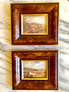 (Pre-Loved) 2 Pc FRAMED PRINTS English Country Style Fox Hunting