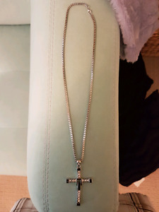 Silver cross pendant necklace for sale!!