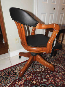 many vintage antique office chairs restored, new leather seats