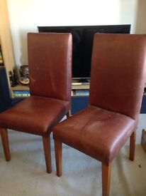 Two Excellent Condition brown Faux leather chairs