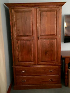 ARMOIRE, solid oak (can be used for TV console)