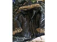 South Collection ladies winter coat fur trim size 16