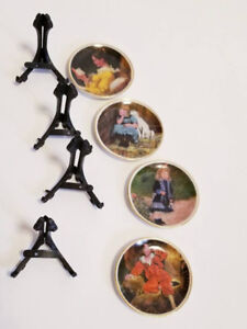 """Vintage Miniature 2"""" Collectible Painted Plates & Display Stands"""
