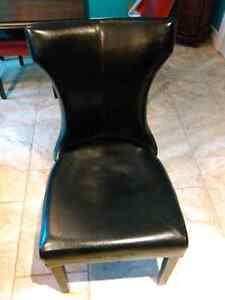 NEW PRICE!!!  Hardwood table and six leather chairs St. John's Newfoundland image 1