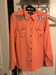 Sexy Cowgirl button up blouse XL NWT's Neon coral RHINESTONES