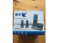 BT digital cordless phones x 3 with answer machine