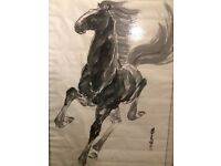 Large Chinese Horse Painting by Liu Meng Liang