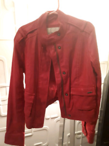HOT PINK LEATHER-LIKE ABERCOMBIE KIDS COAT
