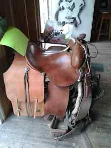 "15 1/2"" Association saddle with saddle bags and blanket"