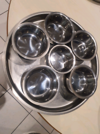 Stainless steel tray & bowl set