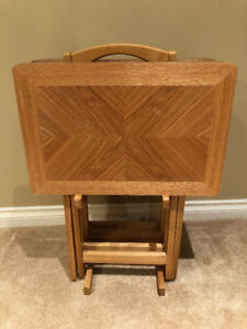 4 Wood TV Trays with Stand
