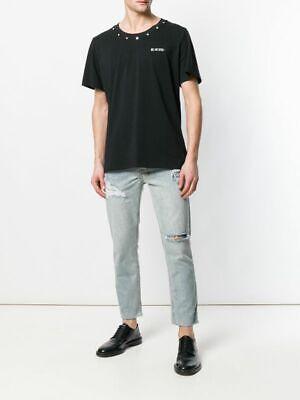 ICOSAE Men's Studded Collar Tee Shirt Graphic Short Sleeve Black Size S      C7D