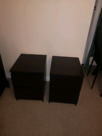 Pair of Black IKEA Malm Bedside Tables