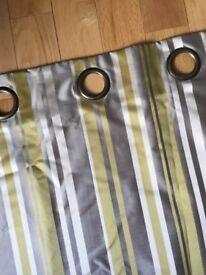 Curtains eyelet green/gold/taupe stripe