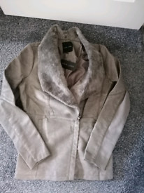 Ladies Grey New Look soft leather feel jacket size 14. Brand new with
