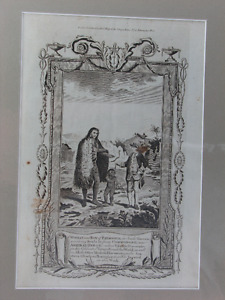 Antique engraving: '...receiving Beads from Commodore Byron'