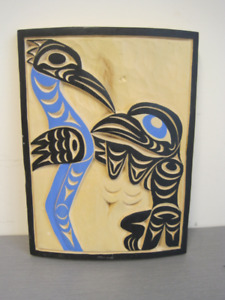 Coast Salish Raven and Heron Wood Carving