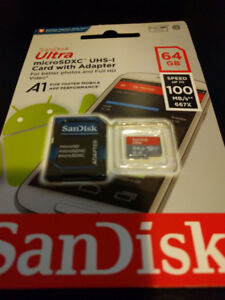 Brand New SanDisk Ultra 64GB MicroSD with SD Adapter