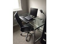 Glass and chrome office desk