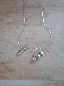 "SILVER 18"" NECKLACE AND PENDANT WITH MATCHING EARRINGS"