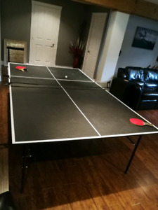 Table ping pong, raquettes, filet, balles