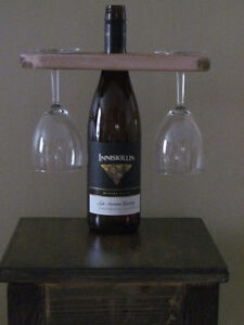 RUSTIC HOLDER FOR WINE BOTTLE AND TWO GLASSES . . . MORE
